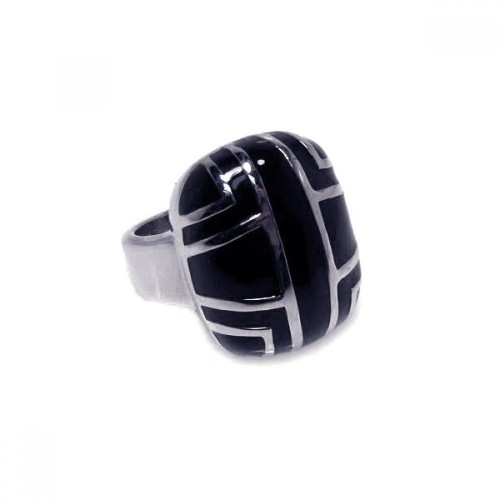 -Closeout- Wholesale Sterling Silver 925 Rhodium Plated Black Enamel Patterned Ring - STR00170