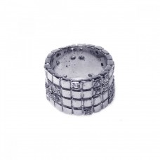**Closeout** Wholesale Sterling Silver 925 Rhodium Plated Clear CZ Grid Ring - STR00182