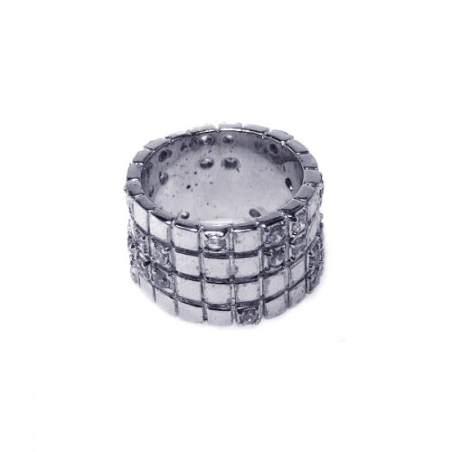-Closeout- Wholesale Sterling Silver 925 Rhodium Plated Clear CZ Grid Ring - STR00182