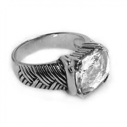 -Closeout- Wholesale Sterling Silver 925 Rhodium Plated Clear CZ Center Striped Ring - STR00202CLR
