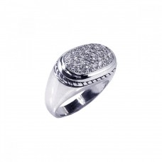 Wholesale Sterling Silver 925 Rhodium Plated Micro Pave Clear CZ Oval Ring - STR00294