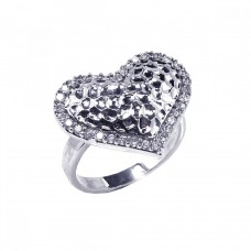 **Closeout** Wholesale Sterling Silver 925 Rhodium Plated Clear CZ Textured Heart Ring - STR00341
