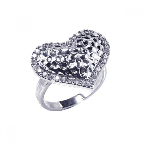 -Closeout- Wholesale Sterling Silver 925 Rhodium Plated Clear CZ Textured Heart Ring - STR00341