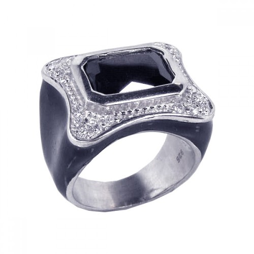 **Closeout** Wholesale Sterling Silver 925 Rhodium Plated Black Enamel Black CZ Clear CZ - STR00370