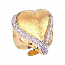 **Closeout** Wholesale Sterling Silver 925 Gold Plated Clear CZ Heart Ring - STR00373