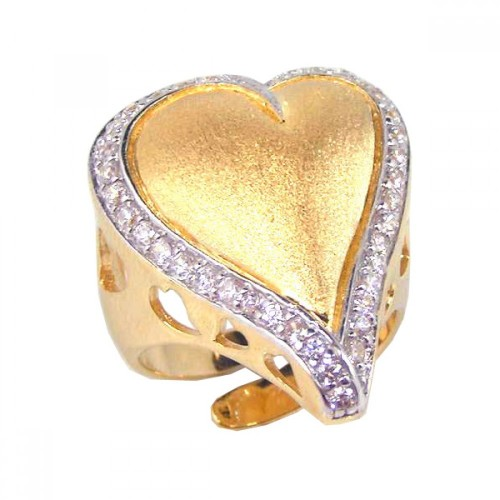 -Closeout- Wholesale Sterling Silver 925 Gold Plated Clear CZ Heart Ring - STR00373