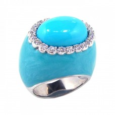 **Closeout** Wholesale Sterling Silver 925 Rhodium Plated Blue Enamel Clear CZ Dome Ring - STR00375