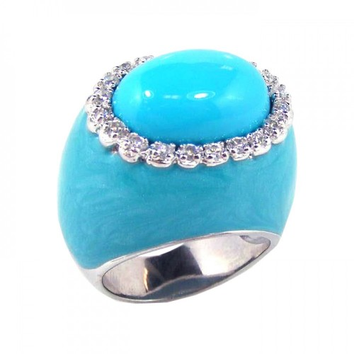 -Closeout- Wholesale Sterling Silver 925 Rhodium Plated Blue Enamel Clear CZ Dome Ring - STR00375