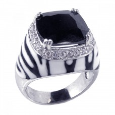**Closeout** Wholesale Sterling Silver 925 Rhodium Plated Black and White Enamel Clear CZ Zebra Dome Ring - STR00380