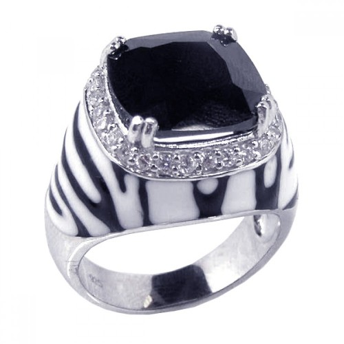 -Closeout- Wholesale Sterling Silver 925 Rhodium Plated Black and White Enamel Clear CZ Zebra Dome Ring - STR00380