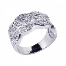 **Closeout** Wholesale Sterling Silver 925 Rhodium Plated Clear CZ Intertwined Lines Ring - STR00387