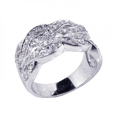 -Closeout- Wholesale Sterling Silver 925 Rhodium Plated Clear CZ Intertwined Lines Ring - STR00387