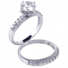 Wholesale Sterling Silver 925 Rhodium Plated Clear Round CZ Bridal Ring Set - STR00388