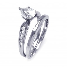 **Closeout** Wholesale Sterling Silver 925 Rhodium Plated Clear Teardrop CZ Bridal Ring Set - STR00843