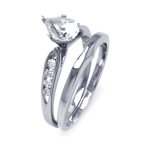 -Closeout- Wholesale Sterling Silver 925 Rhodium Plated Clear Teardrop CZ Bridal Ring Set - STR00843