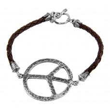 **Closeout** Wholesale Sterling Silver 925 Oxidized Peace Sign on a Leather Strap Bracelet - OXB00012