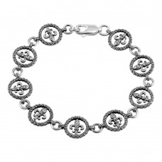**Closeout** Wholesale Sterling Silver 925 Oxidized Open Disc Filigree Design Link Bracelet - OXB00013