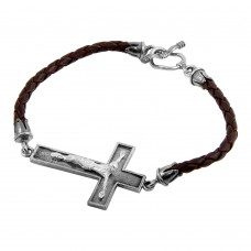 **Closeout** Wholesale Sterling Silver 925 Oxidized Cross on a Leather Strap Bracelet - OXB00014
