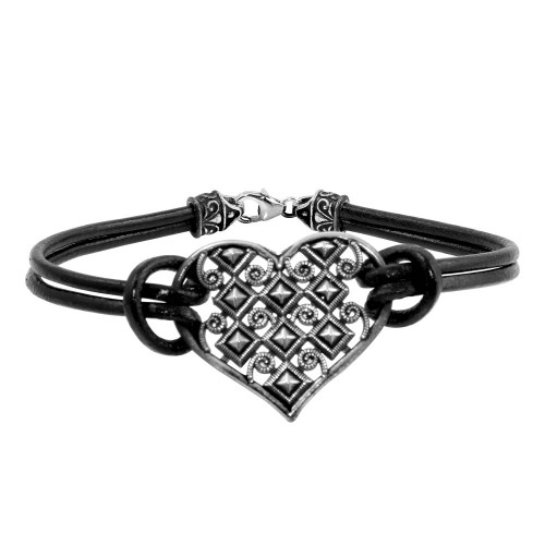 -Closeout- Wholesale Sterling Silver 925 Oxidized Cut Out Designed Heart Leather Bracelet - OXB00015