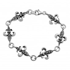 **Closeout** Wholesale Sterling Silver 925 Oxidized Filigree Link Bracelet - OXB00016