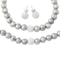 Wholesale Fresh Water White Pearl Necklace, Bracelet and Earrings Set with CZ Encrusted Sterling Silver Bead - PJS00001WHT