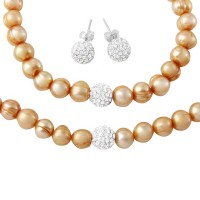 Wholesale Fresh Water Champagne Pearl Necklace, Bracelet and Earrings Set with CZ Encrusted Sterling Silver Beads - PJS00001CHP