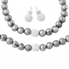 Whoelsale Fresh Water Grey Pearl Necklace, Bracelet and Earrings Set with CZ Encrusted Sterling Silver Bead - PJS00001GRY