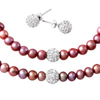 Wholesale Fresh Water Pink Pearl Necklace, Bracelet and Earrings Set with CZ Encrusted Sterling Silver Beads - PJS00001PNK