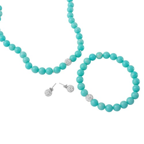 Wholesale Turquoise Beads Necklace, Bracelet and Earrings Set with CZ Encrusted Sterling Silver Bead - PJS00002TQ