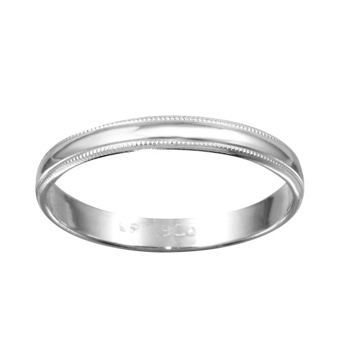 Wholesale Sterling Silver 925 High Polished Bordered Band Ring - RING04