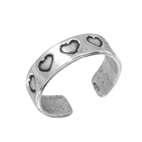 Wholesale Sterling Silver 925 Heart Adjustable Toe Ring - TR110-A
