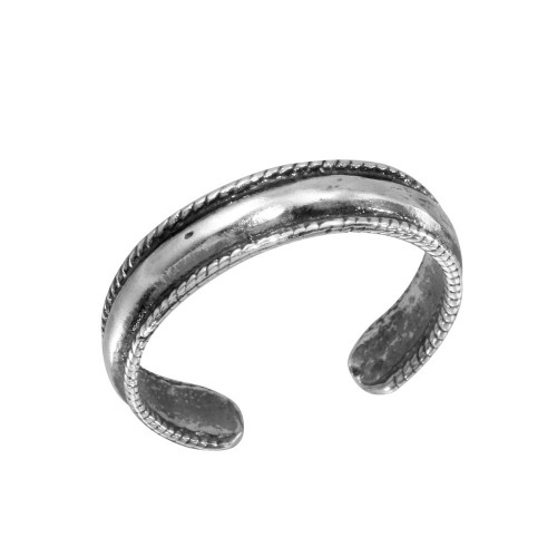 Wholesale Sterling Silver 925 Rope Border Design Adjustable Toe Ring - TR112-A