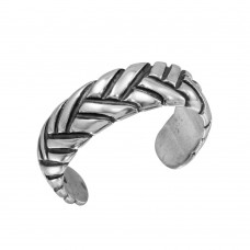 Sterling Silver Braided Adjustable Toe Ring - TR115