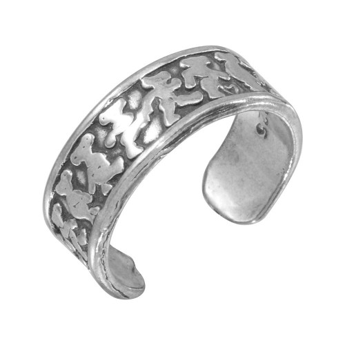 Wholesale Sterling Silver 925 Marching Bears Adjustable Toe Ring - TR117-A