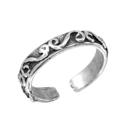 Wholesale Sterling Silver 925 Calligraphy Lines Design Toe Ring - TR118-A