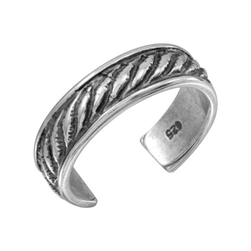 Wholesale Sterling Silver 925 Rope Designed Adjustable Toe Ring - TR124-A