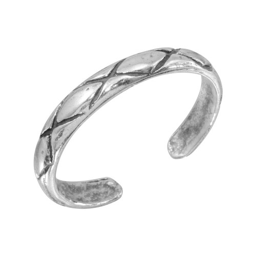 Wholesale Sterling Silver 925 Net Pattern Adjustable Toe Ring - TR141-A