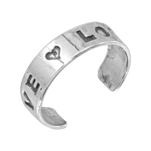 Wholesale Sterling Silver 925 Engraved Love Adjustable Toe Ring - TR147-A