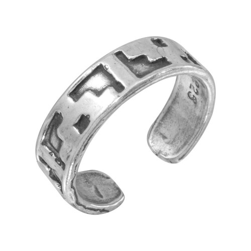 Wholesale Sterling Silver 925 Block Design Toe Ring - TR149-A