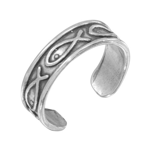 Wholesale Sterling Silver 925 Religious Fish Symbol Adjustable Toe Ring - TR150-A
