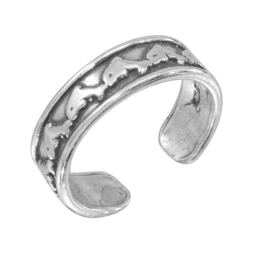 Wholesale Sterling Silver 925 Dolphin Link Adjustable Toe Ring - TR154-A