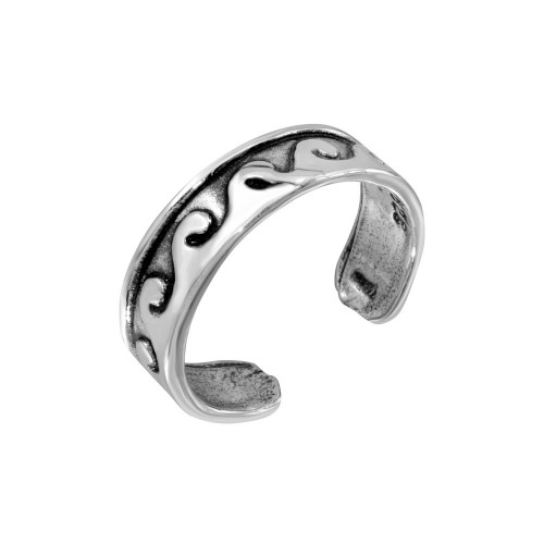 Wholesale Sterling Silver 925 Wave Curl Adjustable Toe Ring - TR156-A