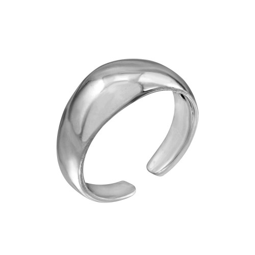 Wholesale Sterling Silver 925 High Polished Plain Rounded Adjustable Toe Ring - TR162-A