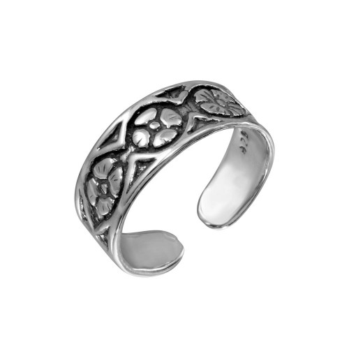 Wholesale Sterling Silver 925 Flower Link Toe Ring - TR163-A