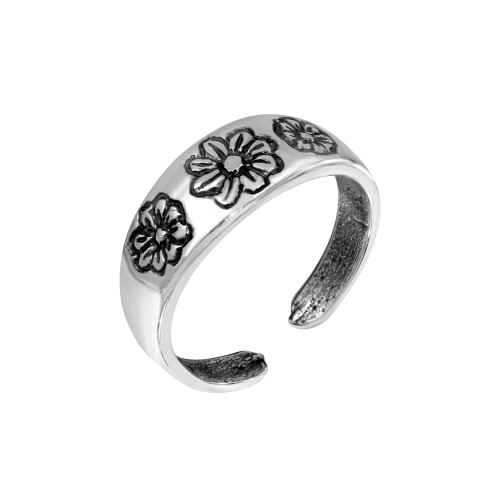 Wholesale Sterling Silver 925 Multi Flower Adjustable Toe Ring - TR164-A