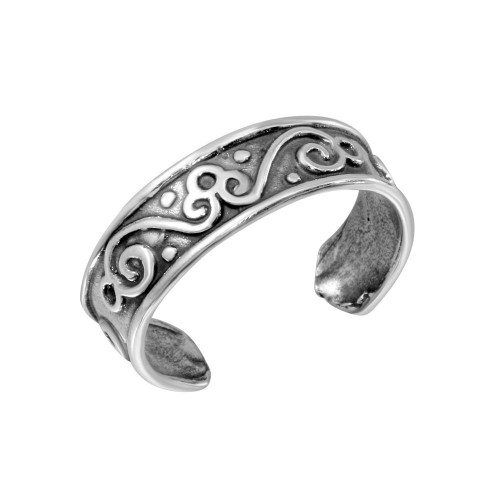 Wholesale Sterling Silver 925 Calligraphy Curve Design Toe Ring - TR176-A