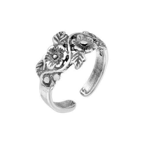 Wholesale Sterling Silver 925 Multi Flower Adjustable Toe Ring - TR178-A