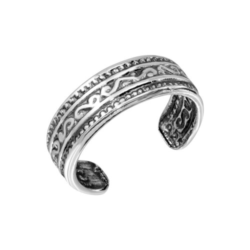 Wholesale Sterling Silver 925 Wave Pattern Adjustable Toe Ring - TR179-A