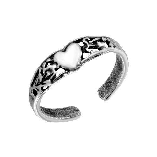 Wholesale Sterling Silver 925 Center Heart Toe Ring - TR182-A