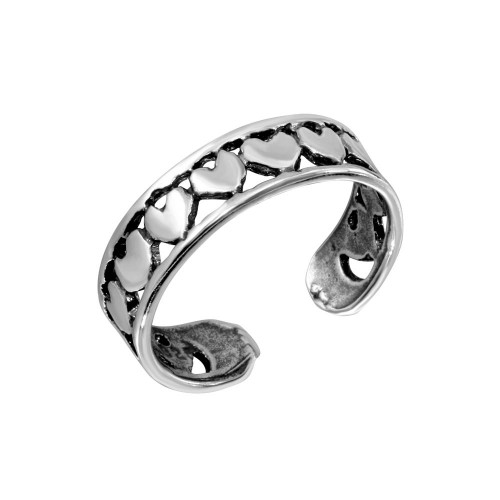 Wholesale Sterling Silver 925 Multi Heart Adjustable Toe Ring - TR190-A